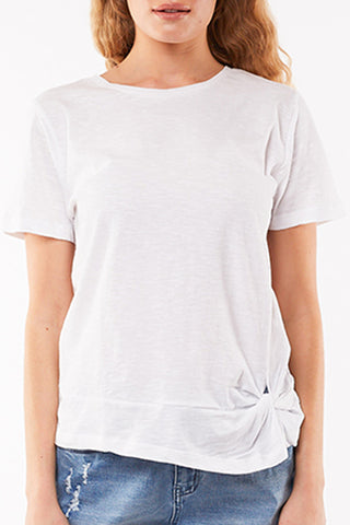 Knot Front White Crop SS Tee