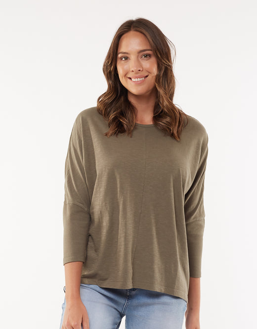 Sara Crop Rib Sleeve Khaki Top