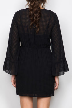 Instance LS Check Wrap Black Dress