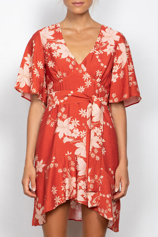 Azalea SS Paprika Floral Dress