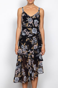 Flora Black Floral Strappy Midi Dress