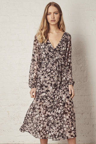 Spell Bound Black Floral LS Wrap Midi Dress