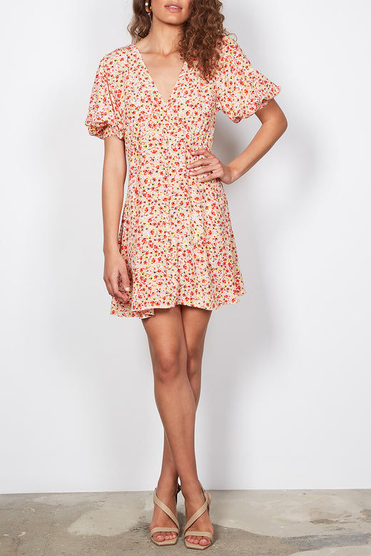 Sunray Ivory Ditsy Flower Puff Sleeve Button Front Mini Dress