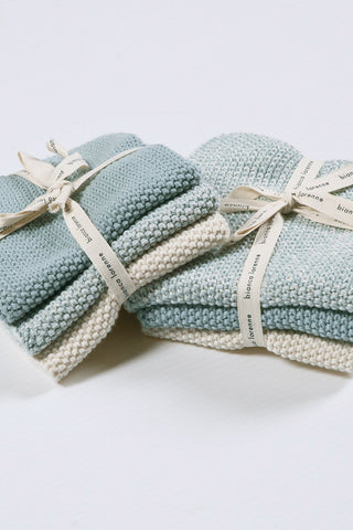 Textured Duck Egg Wash Cloths Set of 3