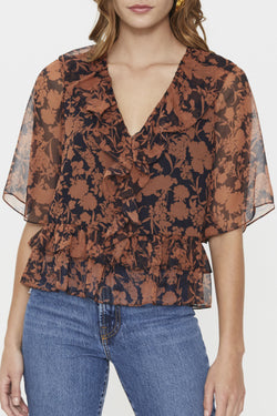 Chelsea Frill Brown Floral Top