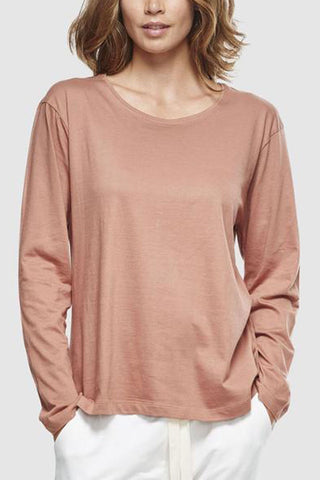 Crew Neck Organic Cotton LS Latte T Shirt