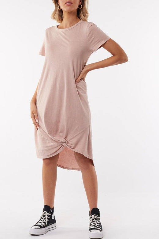 Twisted Dusty Pink Tee Mini Dress
