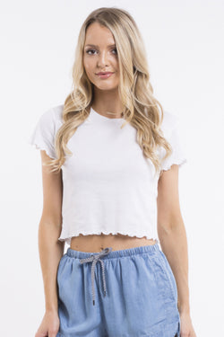Take You Away White Cropped Tee