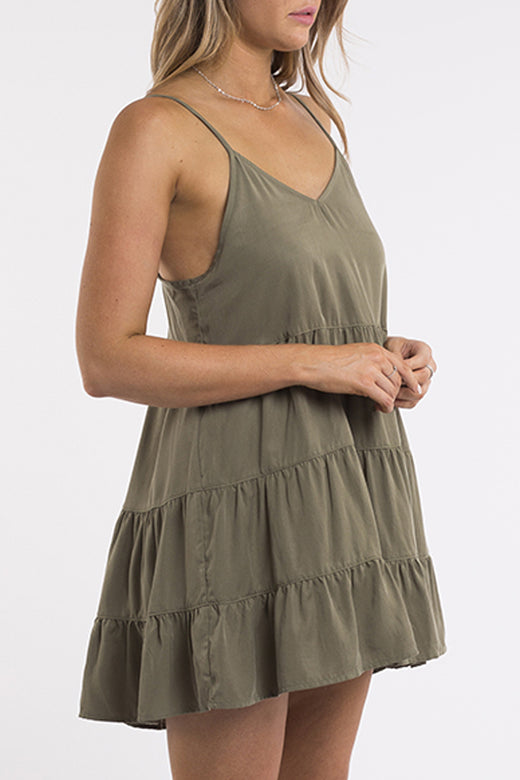 Bondi Strappy Tiered Khaki Mini Dress