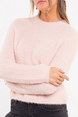 Lillian LS Fuzzy Pink Knit Sweater