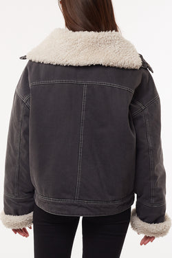 Utility Sherpa Trim Black Denim Jacket
