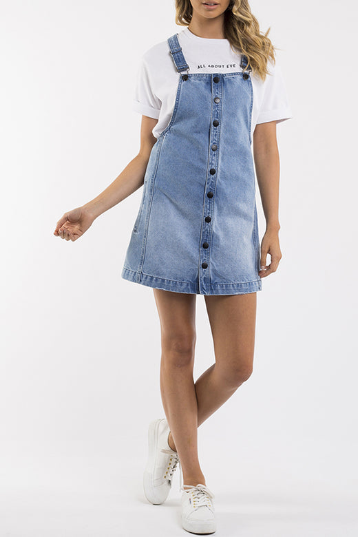 Madeline Blue Denim Pinafore Dress