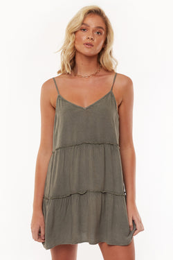 Supple Washed Strappy Khaki Mini Dress