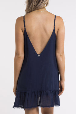Beachy Strappy Drop Hem Navy Day Dress