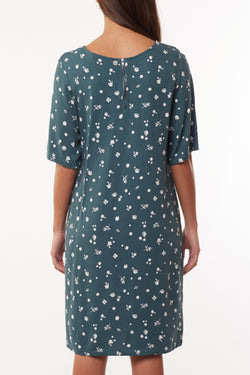 Teal Blossom Print Shift Dress