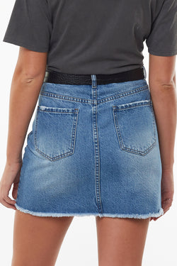 Olsen Dark Blue Vintage Denim Mini Skirt
