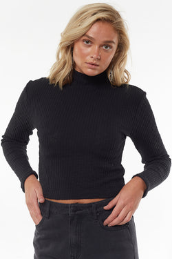 Drew LS Black Rib Top