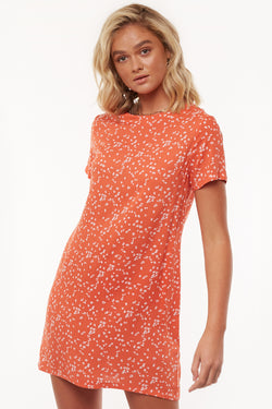 Spring Orange Splatter Shift Dress