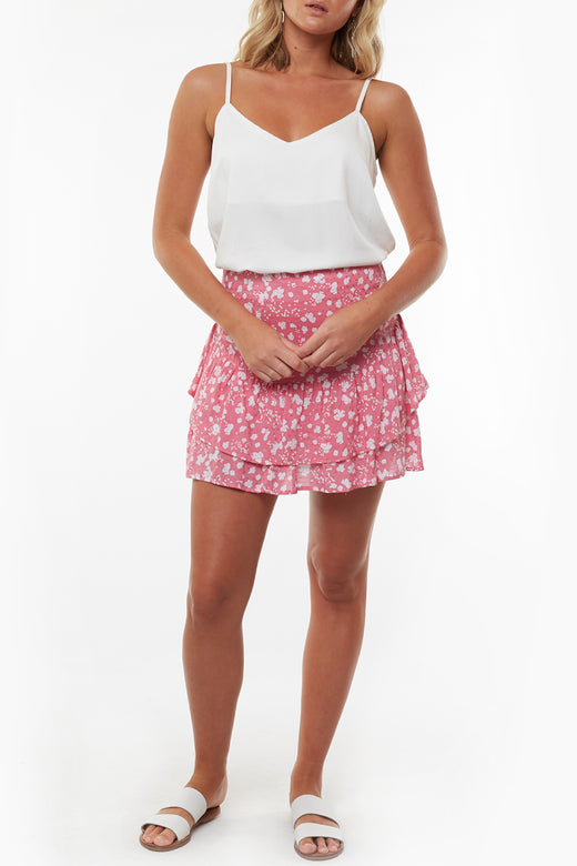 Abstract Coral Ditsy Tiered Mini Skirt