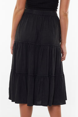 Claudia Black Tiered Midi Skirt