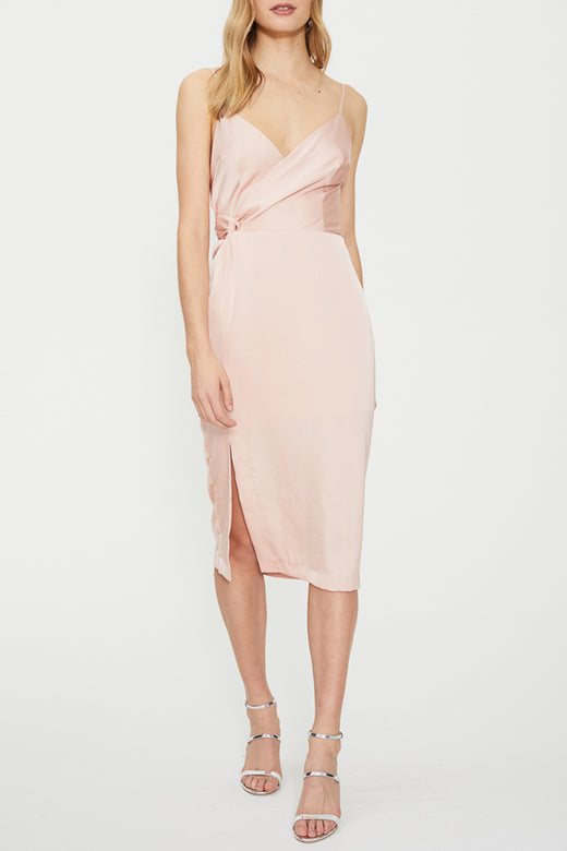 Eden Twist Drape Strappy Blush Dress
