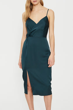 Eden Twist Drape Strappy Evergreen Dress