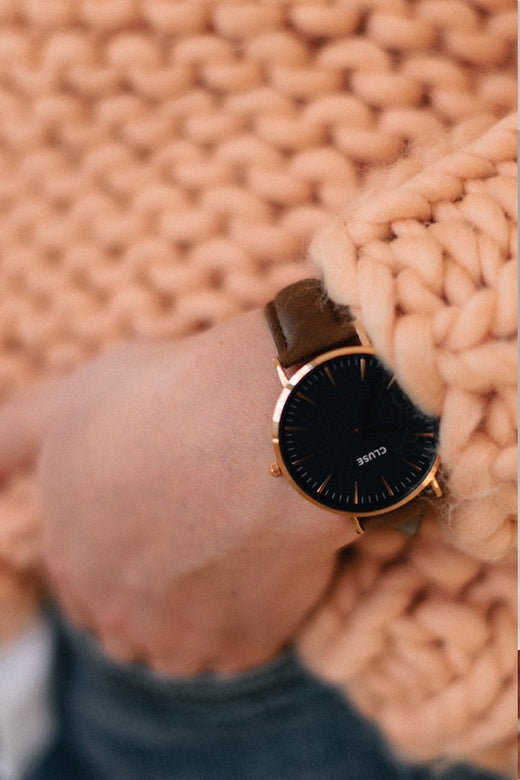 LaBoheme Watch Rose Gold Black Face Black strap