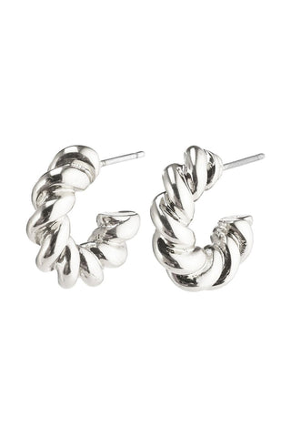 Gabrina Twisted Small Thick Hoop Stud Silver Earrings