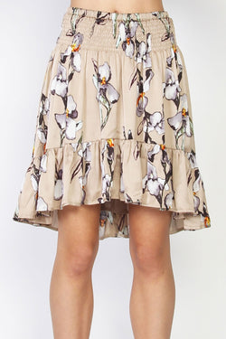 Jenna Silky Satin Fawn Floral Mini Skirt