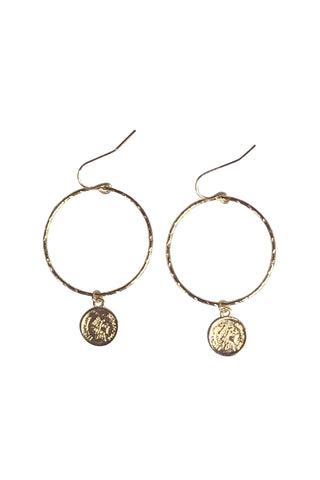 Coin Pendant Hoop Gold Earring