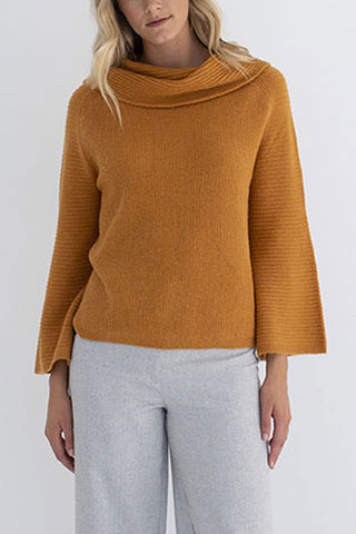 Stella Wide Neck and Sleeve Ginger Sweater