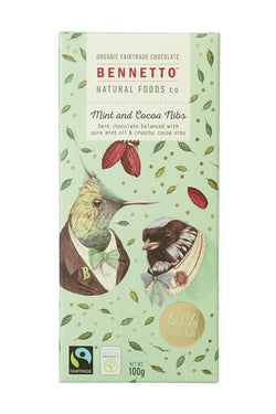 Fairtrade Chocolate Mint + Cocoa Nibs (Mint) 100gm