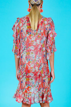 Ruffle Along Red Floral Frill Sleeve Shift Dress