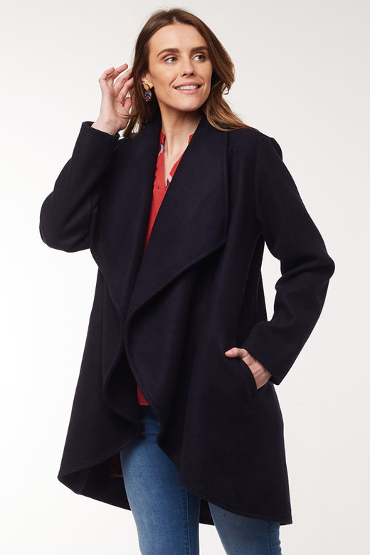 Agnus Waterfall Navy Coat