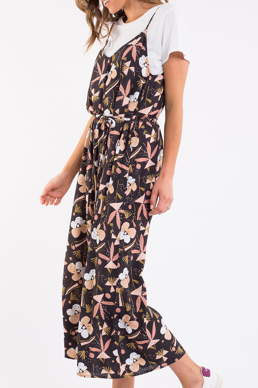 Midnight Blossom Strappy Black Floral Jumpsuit