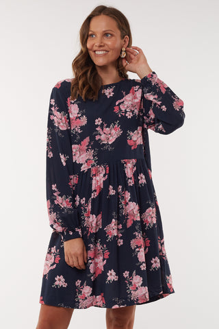 Wildflower LS Navy Floral Shift Dress