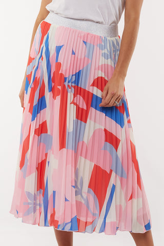 Infinity Pink Abstract Print Pleated Skirt
