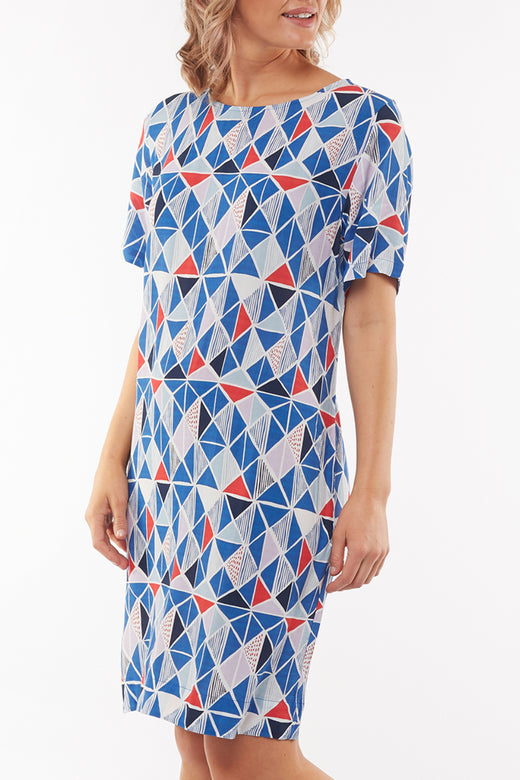 Pyramid Blue Floral Shift Dress