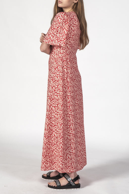 Lyds SS Button Front Red Ditsy Maxi Dress