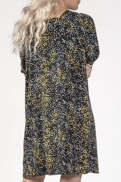 The Small Talk Black Mini Blotch Button Front Dress