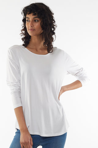 Sierra Luxe LS Relaxed White Tee