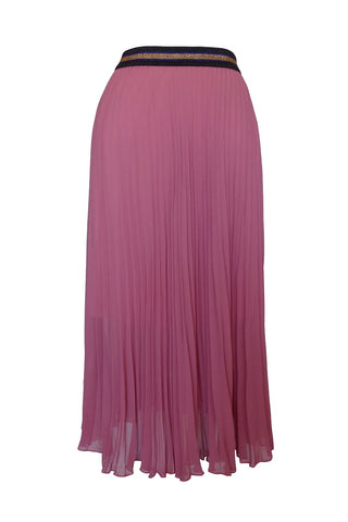 Sheer Rose Midi Pleat Skirt