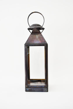 Extra Small Solid Metal Top Lantern Antique Black 34cm