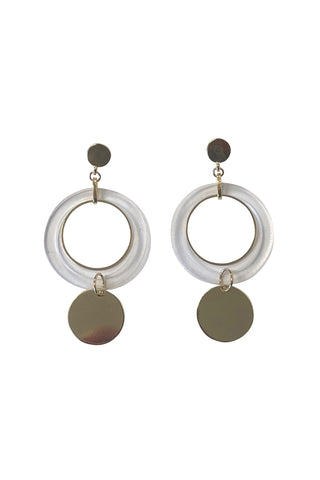 Gold Clear Hoop Earrings