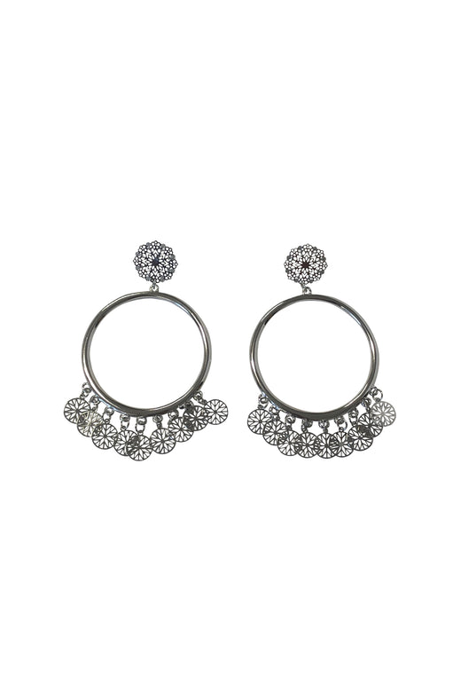Filigree Rhodium Hoop Earrings