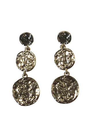 Triple Disc Gold Earrings