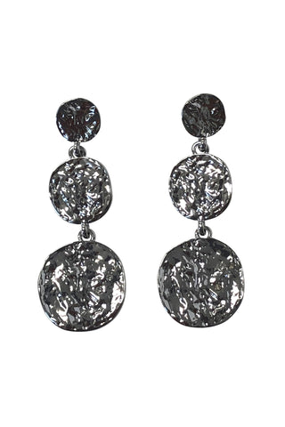 Triple Disc Rhodium Earrings