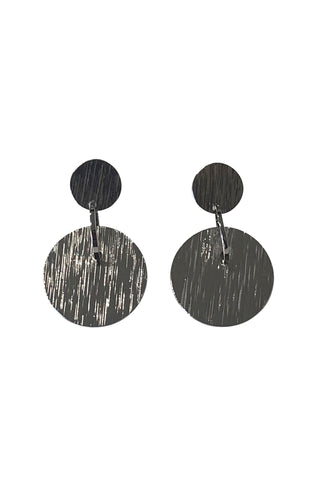 Etched Disc Rhodium Earrings