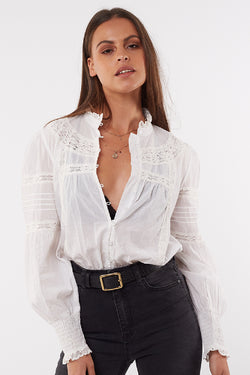 Sarah Cotton Button Front White Top