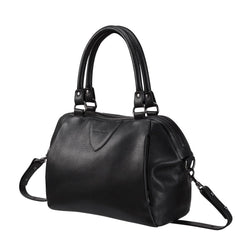 Force of Being Black Leather Handbag